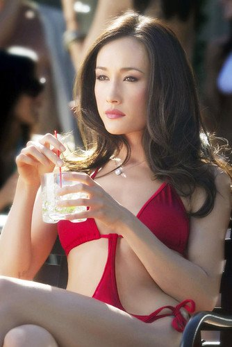Maggie Q 24x36 Poster sexy in red bikini with drink