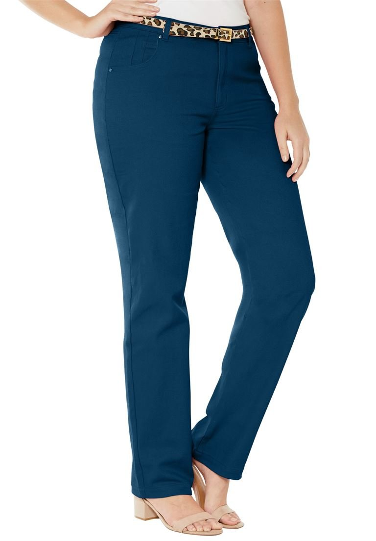 Jessica London Women's Plus Size Classic Cotton Denim Straight Jeans Twilight