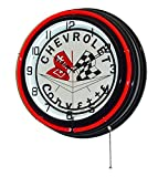 Chevrolet Corvette Flags 18″ Double Neon Lighted Clock Sign Red/black