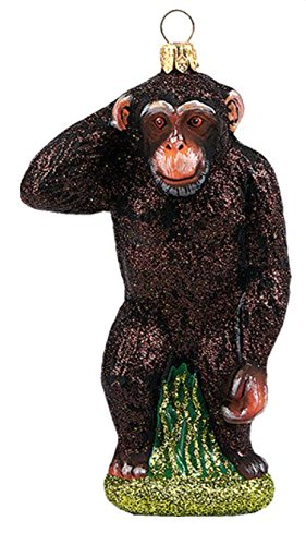 Chimpanzee Monkey Africa Polish Glass Christmas Ornament Animal