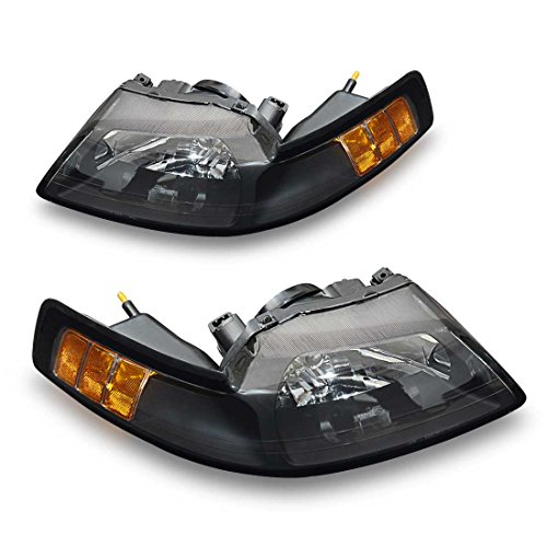 Headlamp for 99-04 Ford Mustang Replacement Headlight Assembly kit,[Hight Clarity & Hight Brightness] Black Housing Clear Lens Driving Light ()