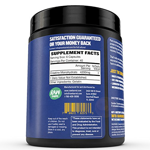 Raw Barrel's - Pure Creatine Monohydrate Capsules - 240 micronized pills - 700mg - SEE RESULTS OR YOUR MONEY BACK - With *FREE* Digital Guide