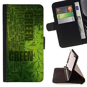 Momo Phone Case / Flip Funda de Cuero Case Cover - Hash Plant cá?amo verde Weed cá?amo - Samsung Galaxy S6