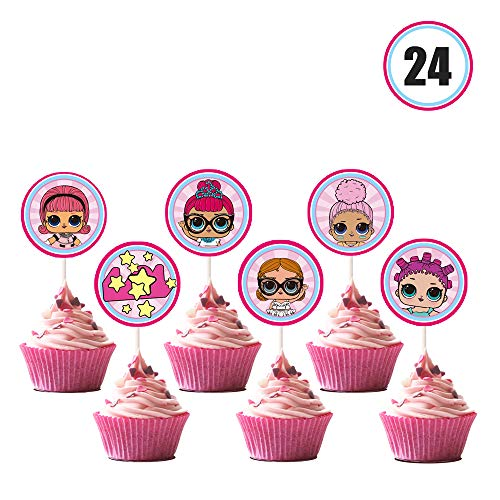 LOL Cupcake Toppers Girls Topper Set, Decorations for 1st Birthday Theme Party - 24 Count