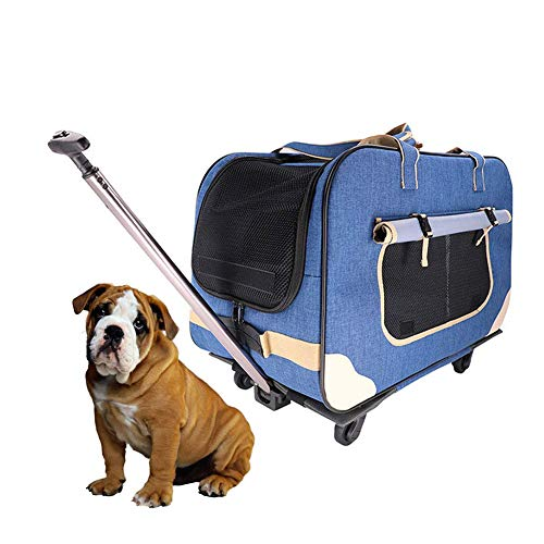 DJLOOKK Pet Stroller Foldable, Pet Trolley Case Lightweight Breathable Nylon Grid, 2 Detachable Swivel Wheels Pushchair Pram Jogger for Puppy Cat Pets,Blue -