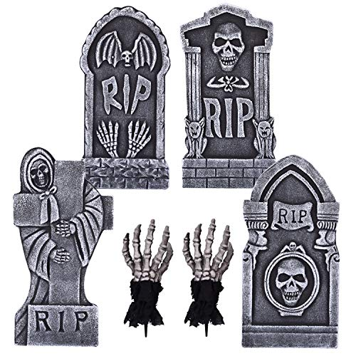 4PCs Halloween Foam RIP Graveyard Tombstone 17 Inches and 2PCs Ghoul Zombie Hands for Halloween Decorations, Backyard, Lawn or Garden Decorations, Halloween Party Supplies