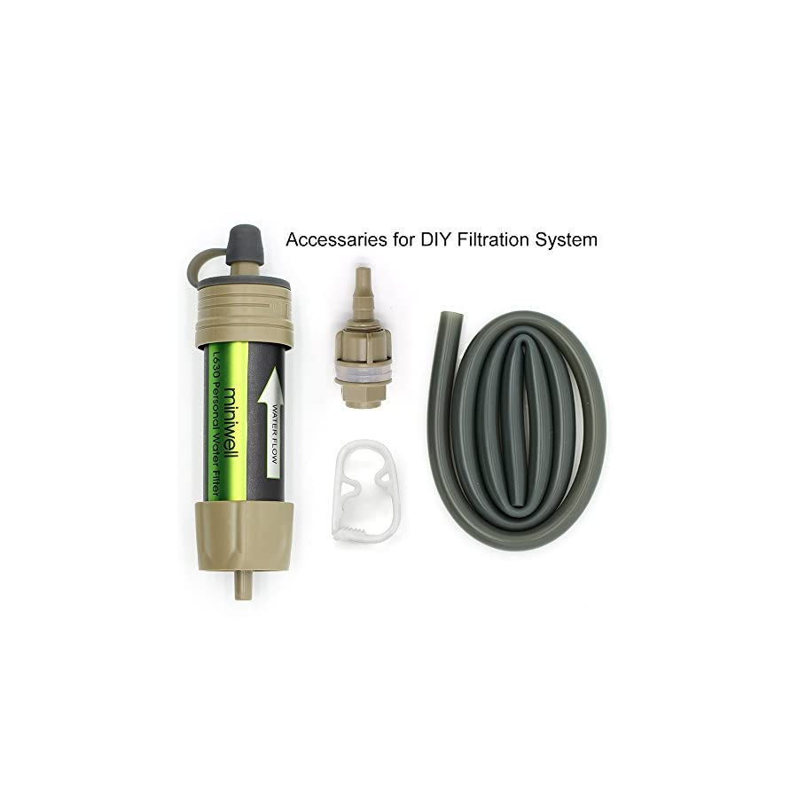 miniwell Gravity Water Filter Straw by Ultralight and Versatile Hiker Water Filter with Optional Accessories. TUV Proven 99.999999% Removal Rate of Bacteria Emergency Kit Hurricane Storm Supplies.