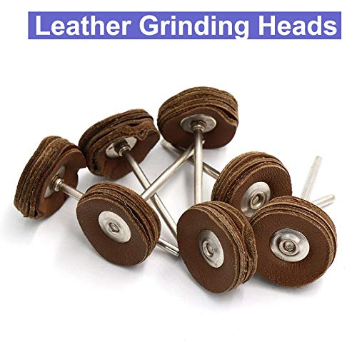 - Meka-supplies - 10pc 2.35mm Shank 5 Layers Cowhide Leather Grinding Heads Mill Tool Amber Bright Mirror Polish Pad Wheel Disk Jade Carving