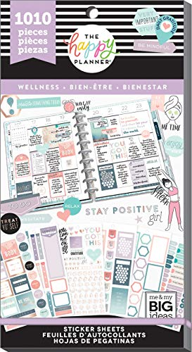 me & my BIG ideas Sticker Value Pack - The Happy Planner Scrapbooking Supplies - Wellness Theme - Multi-Color & Gold Foil - Great for Projects, Scrapbooks & Albums - 30 Sheets, 1010 Stickers Total