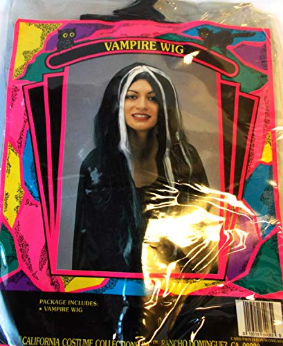 Black White Vampire Vampiress Costume Wig OSFM Adult NIP -