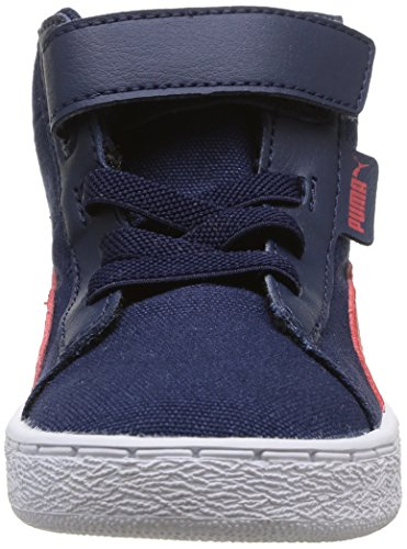 Puma Puma '48 Mid canvas Kids - zapatillas deportivas altas de material sintético infantil Bleu (Peacoat/High Risk Red)