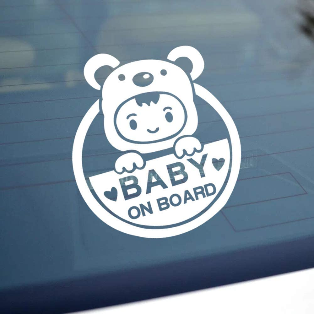 Baby on Board Baby in Car Sticker Decals Safety Signs Baby on Board for Cars Waterproof Shiny Reflective Material 2 in 1 Last for 6 Years White