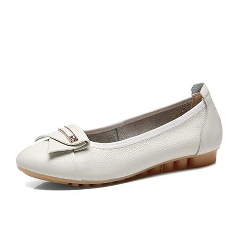 Zapatos Mocasines cuña talón Barco Zapatos Cuero Pisos Zapatos Enfermera Suave Casual Colocar poca conducción cómodas Bombas: Amazon.es: Zapatos y ...