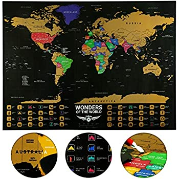 Amazon Com Large Scratch Map World Poster 32 X24 Custom