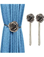 Lewondr Vintage Rose Magnetic Curtain Tieback, 1 Pair Resin Flower Curtain Drapery Holdback Retro Window CurtainDecorative Buckle Holder for Home Office Cafe Balcony, Coffee