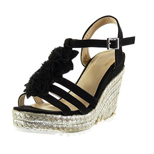 Negro Angkorly Sandalias Moda 11 5 Zapatillas Talón Mules brillantes tobillo de cuerda Plataforma de plataforma mujer CM zapatillas de flores Correa tRqERrw