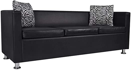 Festnight 3 Seater Sofa Faux Leather Upholstery Modern Couch with Armrest and Pillows for Living Room Home Office Furniture Black