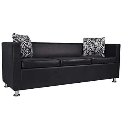 Amazon.com: Artificial Leather 3-Seater Sofa Black Living Room Couch ...
