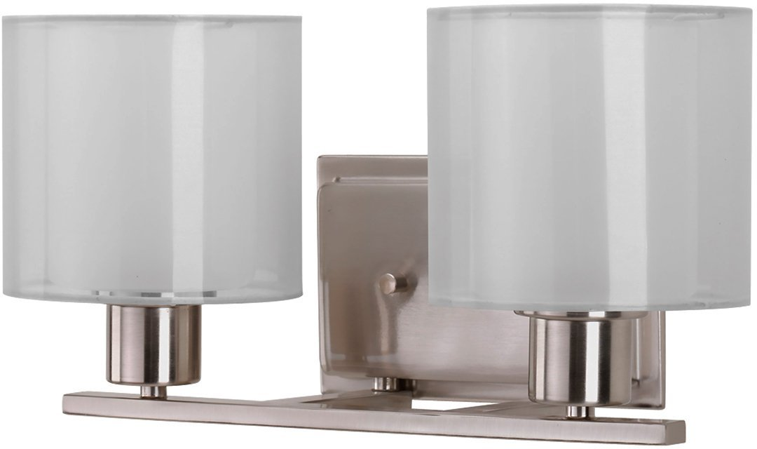 Luxury Cosmopolitan Bathroom Vanity Light, Medium Size: 7.375''H x 14.5''W, with Transitional Style Elements, Brushed Nickel Finish and White Shade, UHP2510 from The Tacoma Collection by Urban Ambiance by Urban Ambiance (Image #1)
