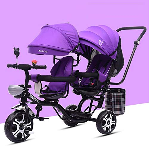 MeTikTok Detachable Twin Baby Stroller, Tricycle Tandem Children's Double Seat Cart Lightweight Front and Rear Folding Out Child Car Large Rotating Seat Reclining 1-7 Year Old Baby Carriage,Purple