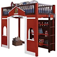 ACME 37085 Fola Loft Bed, Twin, Espresso and Red Finish