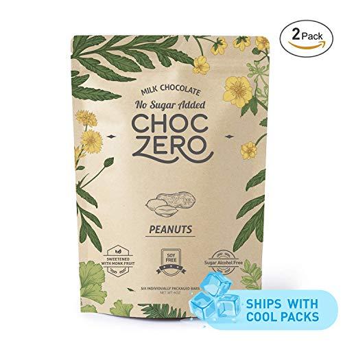 ChocZero's Keto Bark, Milk Chocolate Peanuts, No Added Sugar, Low Carb, No Sugar Alcohols, No Added Sugar, (2 bags, 6 servings each)