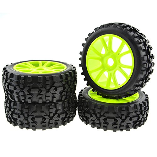 JIUWU 4PCS Green RC 1:8 Scale Double 6 Spoke Wheel Rims Rubber Tires Off Road Buggy Parts (Best 1 8 Buggy)