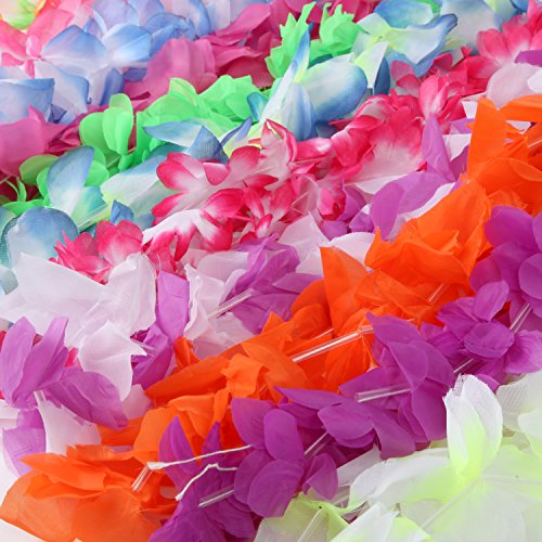 Silk Hawaiian Leis Necklace for Luau Party - Flower Lei Garland with Mutli-Color & Vibrant Floral Design (50 ct) is Perfect for Your Hawaii Luaus - Lay in Tropical Paradise with these Premium (Silk Floral Lei)