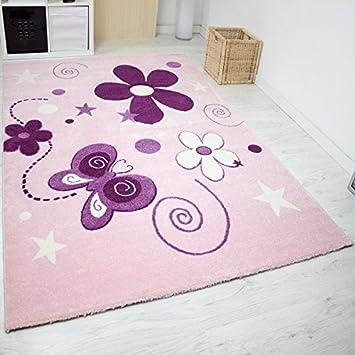 Kinderteppich sterne lila  Moderner Kinder Teppich handgeschnittene Konturen Sterne Blumen ...