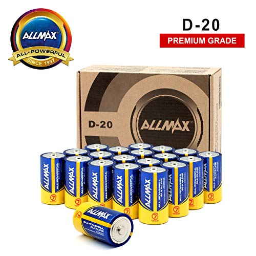 ALLMAX All-Powerful Alkaline Batteries - D (20-Pack) - Premium Grade - Ultra Long Lasting and Leak-Proof, Powered by EnergyCircle