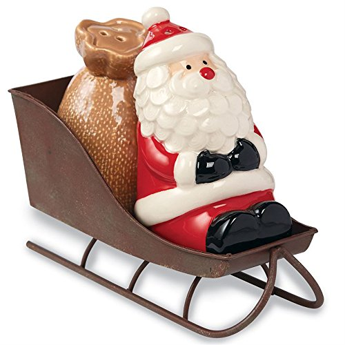 Santa Claus Sleigh with Toy Sack Salt & Pepper Shaker Set