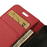Red Magnetic Card Storage Lychee Grain Leather Cover for Sony Xperia E1 D2005 / E1 Dual D2104
