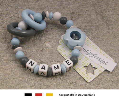 Baby Greifling Beißring geschlossen mit Namen | individuelles Holz Lernspielzeug als Geschenk zur Geburt & Taufe | Jungen Motiv Blume in blau