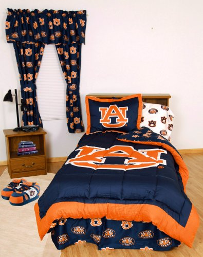 Auburn Tigers (2) Pc Twin Reversible Comforter Set and One Window Valance - Includes: (1) Twin Reversible Comforter, (1) Standard Pillow Sham and (1) Matching Window Curtain Valance - Save Big!
