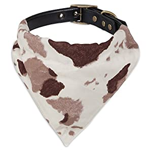 "delicate MuttNation Fueled by Miranda Lambert 1 X 18-22"" Brown Cowhide/Pink Paisley Print Hankercheif Custom Fit Dog Collar, Assorted"