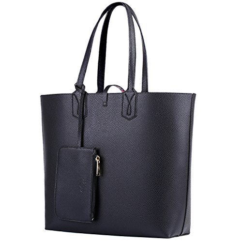 Black Purse, COOFIT Womens Purses and Handbags Shourder Bag Reversable Tote Bag Black