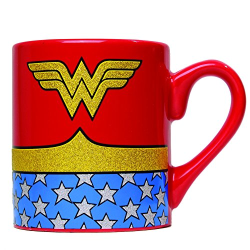 Silver Buffalo WW0132G DC Comics Wonder Woman Uniform Glitter Ceramic Mug, 14-Ounces