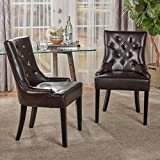 Christopher Knight Home 238459 Stacy Tufted Brown Leather Dining Chair (Set of 2)