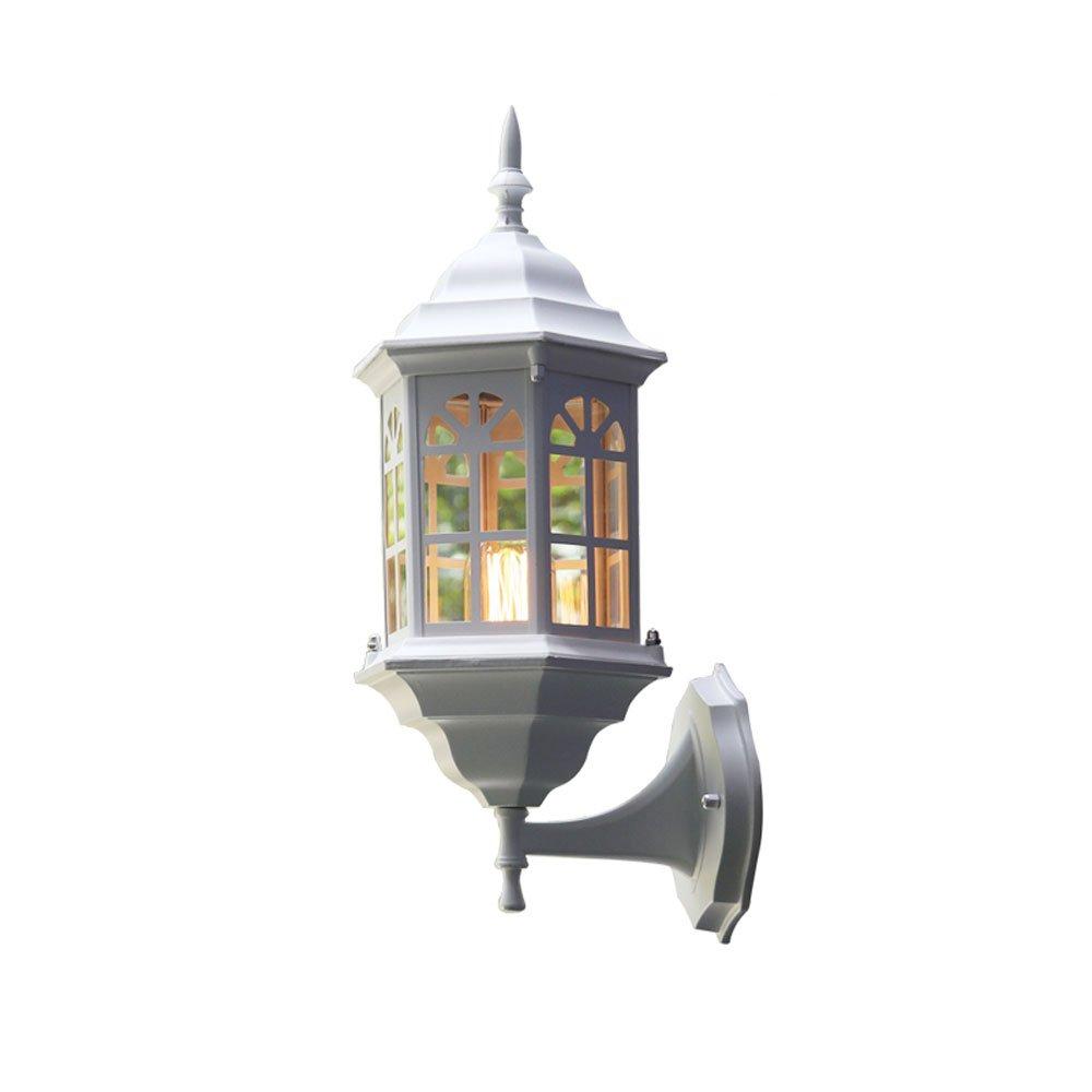 Kezeer Europäischen Stil Moderne Outdoor Wasserdichte Aluminium Glas Wandleuchte Wandleuchte Villa Korridor Shop Wand Leuchte E27 (schwarz Weiß) (Farbe   Weiß)