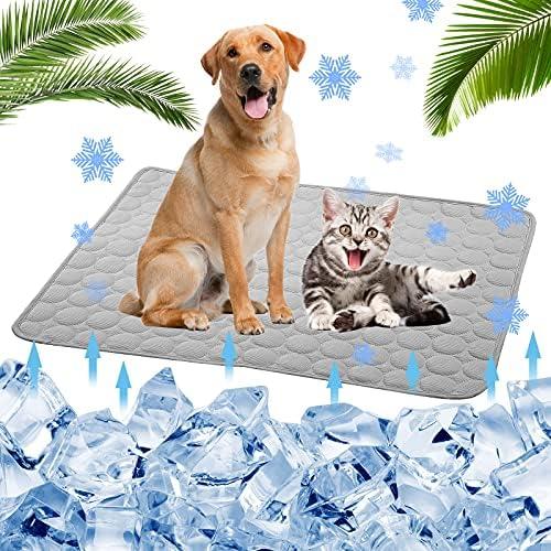 Cooling Mat for Dogs Cats, Dog Cooling Mat Pet Self Cooling, Dog Cooling Pad Dog Cooling Supplies Cooling Mat, Pet Indoor/Outdoor Summer Pet Cooling Mat Dog Cat Bed Mats 28″x22″ Grey