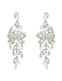 Ever Faith Wedding Hibiscus White Simulated Pearl Earrings Clear Austrian Crystal N03875-1