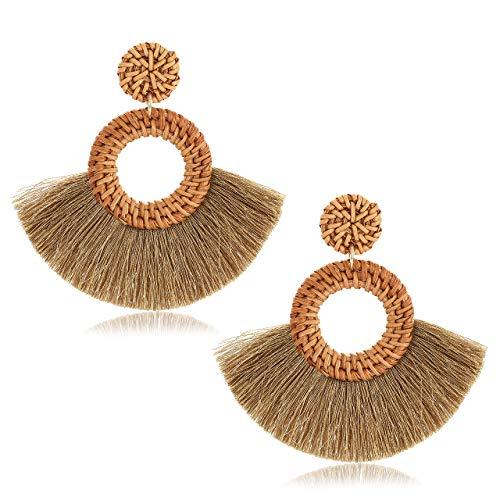 Rattan Earrings For Women Bohemia Fan Tassel Earrings Handmade Weave Straw Wicker Drop Hoop Earrings Lightweight Statement Earrings (Khaki)]()