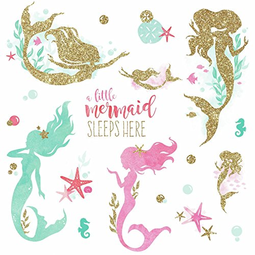 RoomMates Mermaid Peel And Stick Wall Decals With Gltter by RoomMates (Image #3)