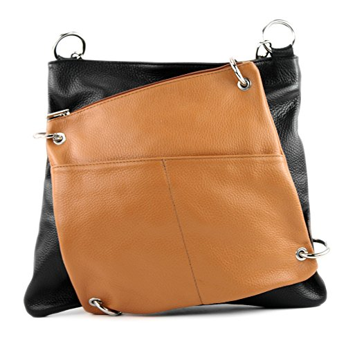 2in1 Camel cuir modamoda Schwarz cuir en NT07 à sac sac sac sac Messenger de bandoulière ital en dames w4wF7AZTq