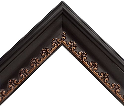 Ornate Black Old World Picture Frame with Gold Scroll Pattern (8x10 Inch) - Fancy Scroll Frame