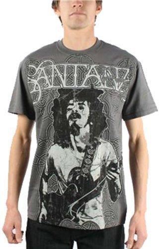Santana - Vintage Peace Premium Prints Mens T-Shirt In Charcoal, Size: Small, Color: Charcoal