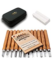 HOLZWURM verktygssats för träsnideri 12 delar, inkl. Väska, instruktioner och brynsten, perfekt snidknivset för nybörjare och proffs