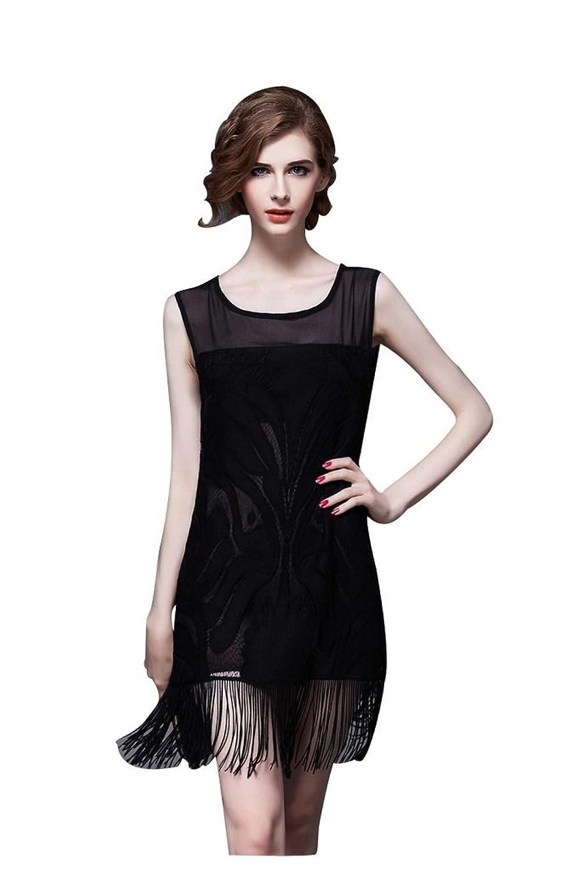 BOMOVO Damen Elegant Sommerkleid Mini Kleid mit Fransen Swing Lace ...