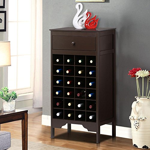 World Pride Heavy Duty Wood Wine Cabinet Rack Drawer Liquor Bottle Storage Holder Kitchen Bar Espresso