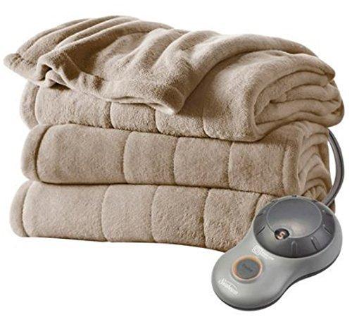 Heated Blanket Sunbeam Microplush Heated Blanket Ultra Soft Imperial Plush FULL Mushroom (Beige)